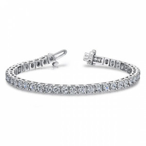 Round VS H-I ABELINI 9K White Gold Tennis Bracelet Round Brilliant Cut Line Tennis Diamond Bracelet