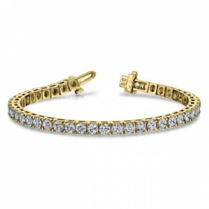 Round VS H-I ABELINI 9K Yellow Gold Tennis Bracelet Round Brilliant Cut Line Tennis Diamond Bracelet