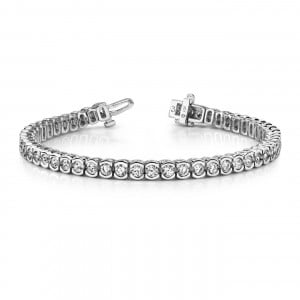 Semi Bezel Set Round Brilliant Cut Line Tennis Diamond Bracelet