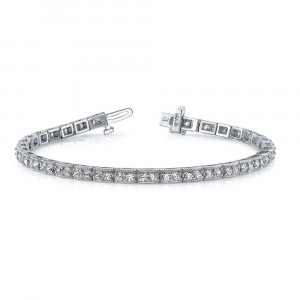 Miligrain Pave Setting Round Brilliant Cut Line Tennis Diamond Bracelet