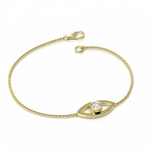 Round 0.10 I1 H-I ABELINI 9K Yellow Gold Solitaire Deliv Eye Chain Diamond Bracelets