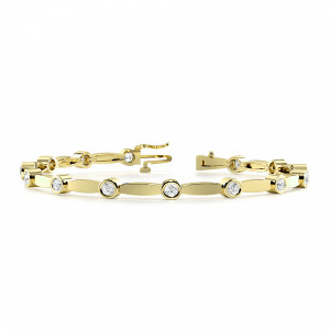 Round 1.00 VS D-E ABELINI 18K Yellow Gold Bezel Setting Station Delicate Diamond Bracelets