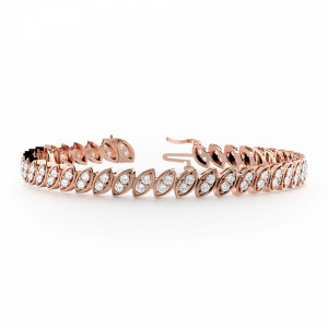 Round 1.90 VVS F-G ABELINI 9K Rose Gold 2 Stone Links Diamond Tennis Bracelets