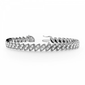 Round 1.90 I1 H-I ABELINI 18K White Gold 2 Stone Links Diamond Tennis Bracelets