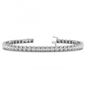 Round 1.20 VS H-I ABELINI 950 Silver Illusion Set Diamond Tennis Bracelets