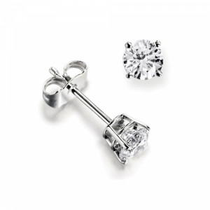 Platinum & Yellow/White Gold Single Diamond Stud Earrings For Men