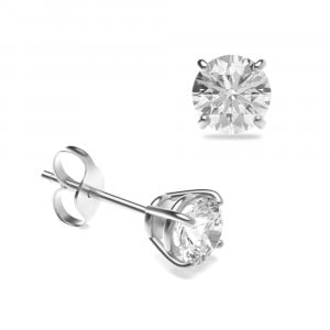 Round 1.00 I1 G ABELINI 18K White Gold Platinum & Yellow/White Gold Diamond Stud Earrings