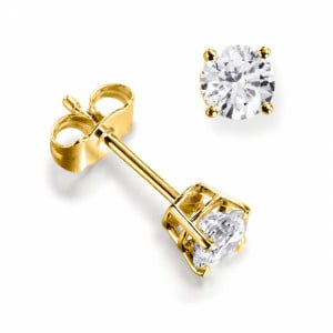 Round 0.30 I1 H-I ABELINI 9K Yellow Gold Platinum & Yellow/White Gold Diamond Stud Earrings