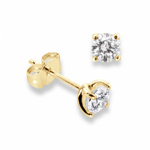 4 Claw Round Diamond White Gold Stud Earrings For Men
