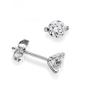 Platinum, 18ct & 9ct White Gold Single Diamond Stud Earrings For Men