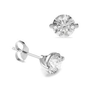 Round 0.70 VVS H-I ABELINI 950 Platinum Platinum, 18ct & 9ct White Gold Diamond Stud Earrings