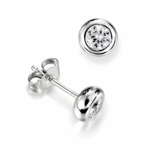 Bezel Set Single Diamond Earrings For Men White Gold in Round Shape