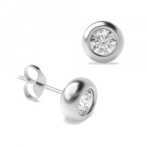 Round 0.20 I1 H-I ABELINI 9K White Gold Bezel Set Diamond Stud Earrings White Gold in Round Shape
