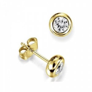 Round 0.20 I1 H-I ABELINI 9K Yellow Gold Bezel Set Diamond Stud Earrings White Gold in Round Shape