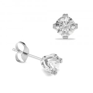 Round 1.50 VS F-G ABELINI 950 Platinum Platinum, 18ct & 9ct Gold Diamond Stud Earrings