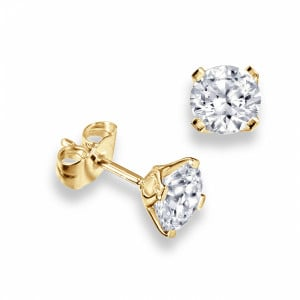 Round 1.00 I1 H ABELINI 9K Yellow Gold Platinum, 18ct & 9ct Gold Diamond Stud Earrings