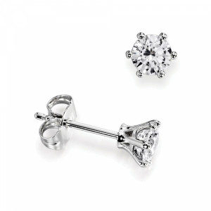6 Claw Round Single Diamond Stud Earrings For Men on Sale