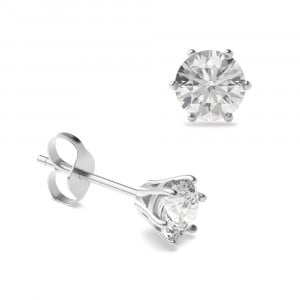 6 Claw Round Diamond Stud Earrings on Sale