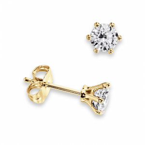 Round 1.60 SI D-E ABELINI 18K Yellow Gold 6 Claw Round Diamond Stud Earrings on Sale