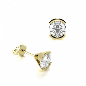 Round 1.20 VVS D-E ABELINI 18K Yellow Gold Semi Bezel Set Round Diamond Stud Earrings on Sale
