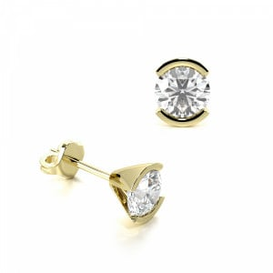 Round 1.20 SI F-G ABELINI 18K Yellow Gold Semi Bezel Set Round Diamond Stud Earrings on Sale