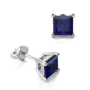 Claw Setting Square Blue Sapphire Gemstone Stud Earrings
