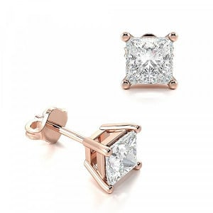 Claw Setting Square Moissanite Stud Earrings
