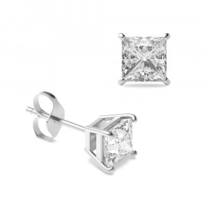 Princess 0.50 VVS D-E ABELINI 950 Platinum Princess Diamond Stud Earrings for women