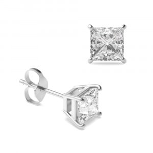 Princess 1.50 VS F-G ABELINI 950 Platinum Princess Diamond Stud Earrings for women