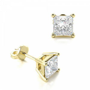 Princess 0.80 SI F-G ABELINI 18K Yellow Gold Princess Diamond Stud Earrings for women