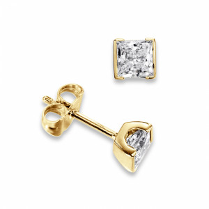 Princess 0.10 I1 H-I ABELINI 9K Yellow Gold Tension Set Princess Diamond Stud Earrings for women
