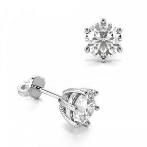 Round 1.00 VVS2 G ABELINI 18K White Gold Six Claws Round Lab Grown Diamond Stud Earrings