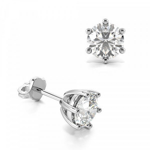 Six Claws Round Moissanite Stud Earrings
