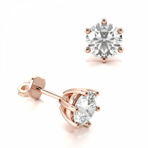 Round 1.20 VS H-I ABELINI 9K Rose Gold 6 Claw Round Diamond White Gold Stud Earring