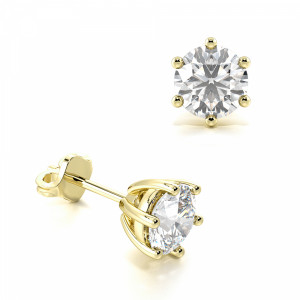 Round 0.10 I1 I ABELINI 9K Yellow Gold 6 Claw Round Diamond White Gold Stud Earring