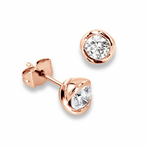 Round 1.20 VS H-I ABELINI 9K Rose Gold Tiny Diamond Rose Gold Stud Earrings