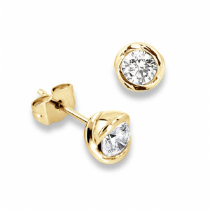 Round 1.20 SI F-G ABELINI 18K Yellow Gold Tiny Diamond Rose Gold Stud Earrings