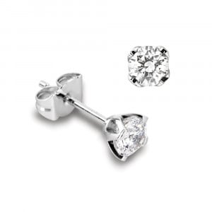 Round 1.00 SI H-I ABELINI 950 Platinum Genuine Single Diamond Stud Earrings For Men in White Gold and Platinum