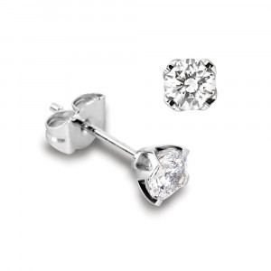 Genuine Single Diamond Stud Earrings For Men in White Gold and Platinum