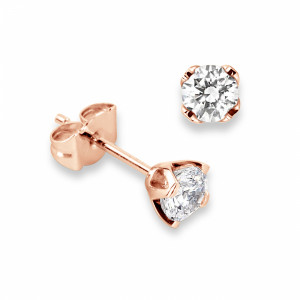 Round 1.20 VS H-I ABELINI 9K Rose Gold Genuine Diamond Stud Earrings in White Gold and Platinum