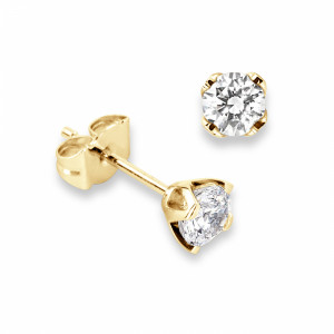 Round 1.20 VS H-I ABELINI 9K Yellow Gold Genuine Diamond Stud Earrings in White Gold and Platinum