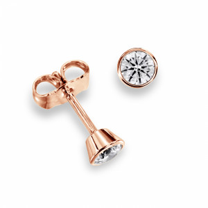 Bezel Set Rose, Yellow or White Gold Diamond Stud Earrings