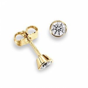 Round 1.60 SI D-E ABELINI 18K Yellow Gold Bezel Set Rose, Yellow or White Gold Diamond Stud Earrings