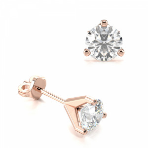 Round 1.20 SI D-E ABELINI 9K Rose Gold 3 Claw Round Diamond Gold Diamond Stud Earring