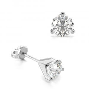 Round 1.50 VS F-G ABELINI 950 Platinum 3 Claw Round Diamond Gold Diamond Stud Earring
