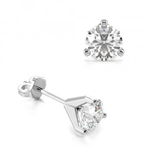 Round 0.20 I1 H-I ABELINI 9K White Gold 3 Claw Round Diamond Gold Diamond Stud Earring