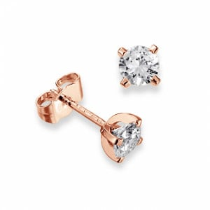 Round 2.00 I1 D-E ABELINI 9K Rose Gold Real Diamond Stud Earrings in White Gold and Platinum