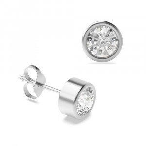 Round 1.50 VS F-G ABELINI 950 Platinum Bezel Set Platinum or Gold Diamond Stud Earrings Diamond