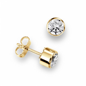 Round 2.00 I1 D-E ABELINI 9K Yellow Gold Bezel Set Platinum or Gold Diamond Stud Earrings Diamond