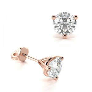 Round 2.00 I1 D-E ABELINI 9K Rose Gold 3 Claw Round Diamond Gold Diamond Stud Earring